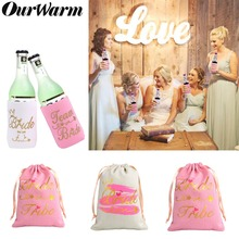 OurWarm Bride Bachelorette Party Decoration Pink Candy Bags Beer Can Cooler Covers for Hen Decor Birde to Be Favor