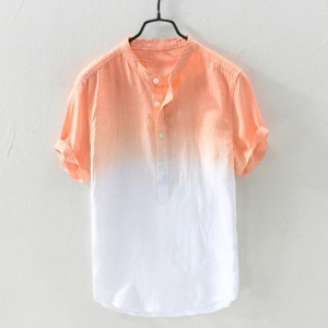 Summer Men's Cool And Thin Breathable Collar Hanging Dyed Gradient Cotton Shirt L5021