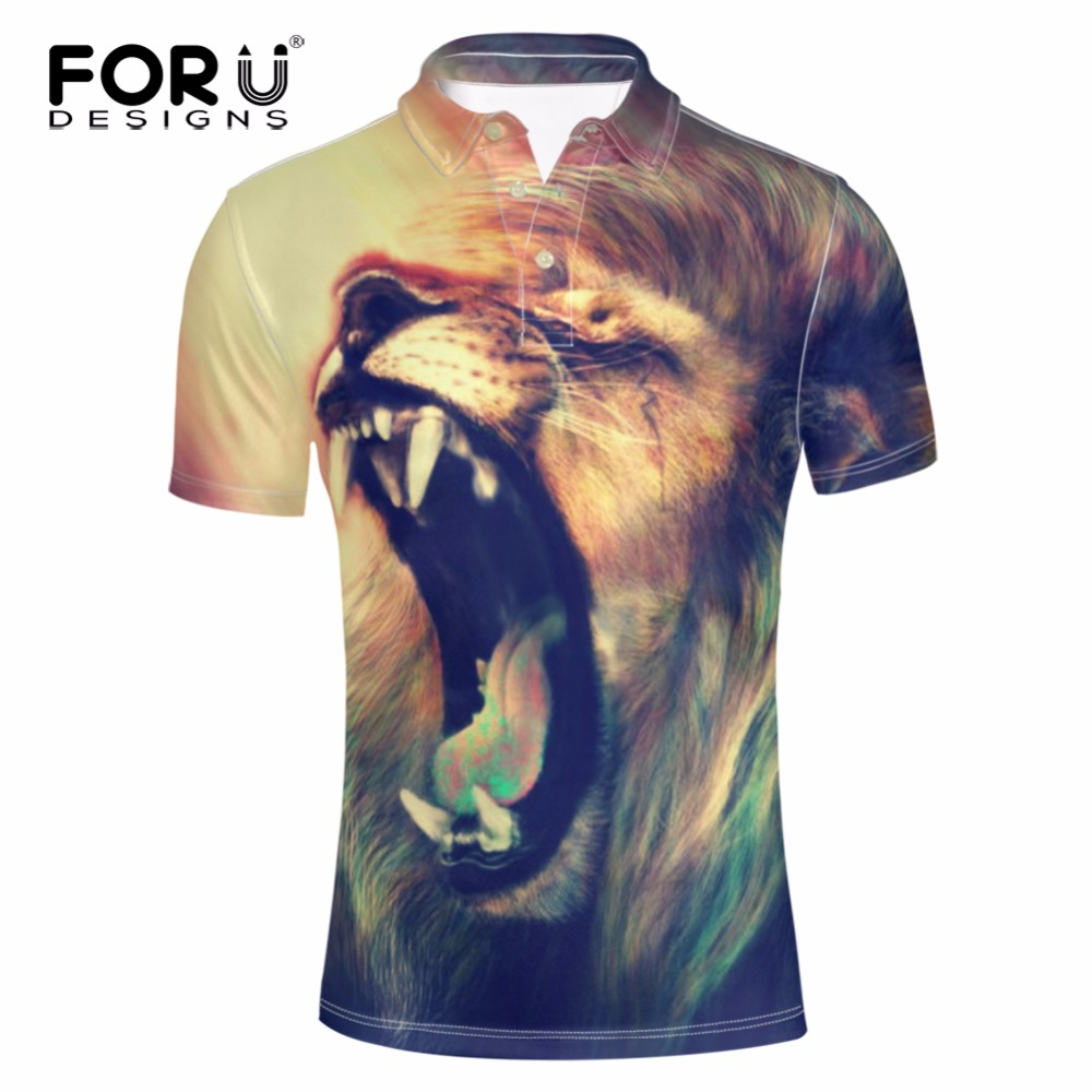 2015 new real camisa solid polo shirt mens fashion cool design short - Forudesigns Summer Men Short Sleeved Polo Shirt 3d Cool Animal Lion Print Casual Shirt For Man