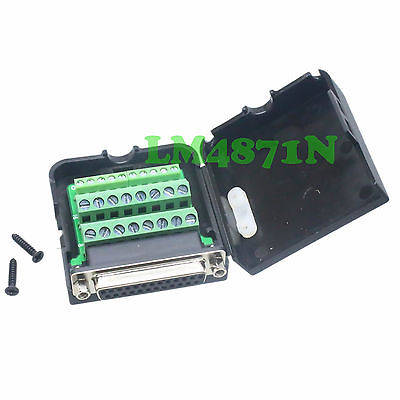 D-SUB Jack 26PIN port DB25 Terminal breakout PCB plastic cover solderless cable hot factory direct wholesale db9 d sub vga male plug 9pin port terminal breakout pcb rs232 485 2 row screw
