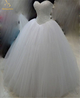 Bealegantom White Quinceanera Dresses 2019 Ball Gown Crystals Lace Up Vestido De Debutante Puffy Sweet 16 Party Dress QA1455