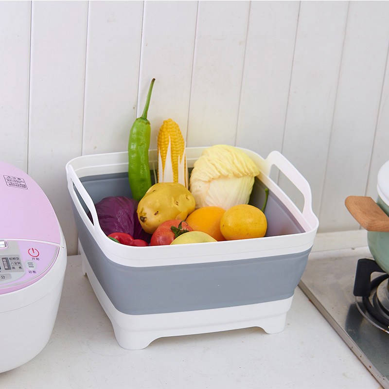 Multifuction Home Kitchen Drain Basket Fruit Vegetable Washing Plastic Tools Cleaning Storage Organizer