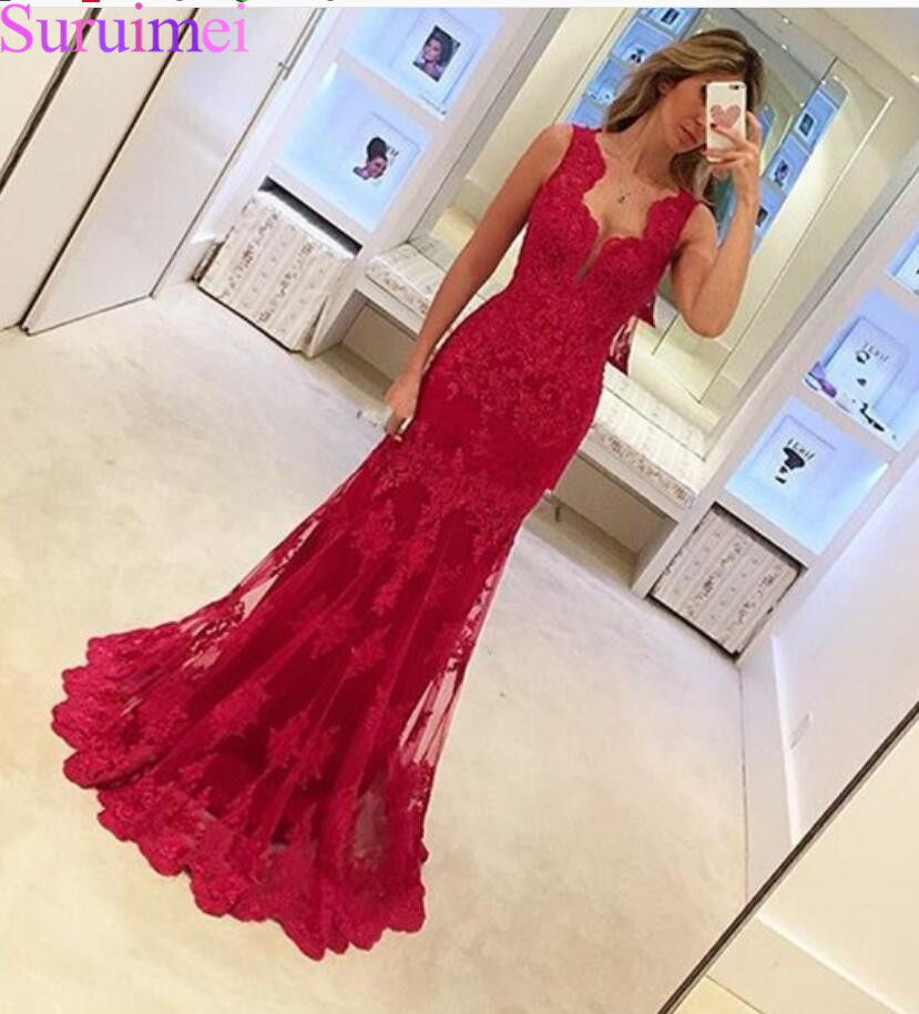Red Appliques Lace   Evening     Dress   Sleeveless Mermaid Party   Dress   Elegant Women Long   Dresses   Formal Gown 2020