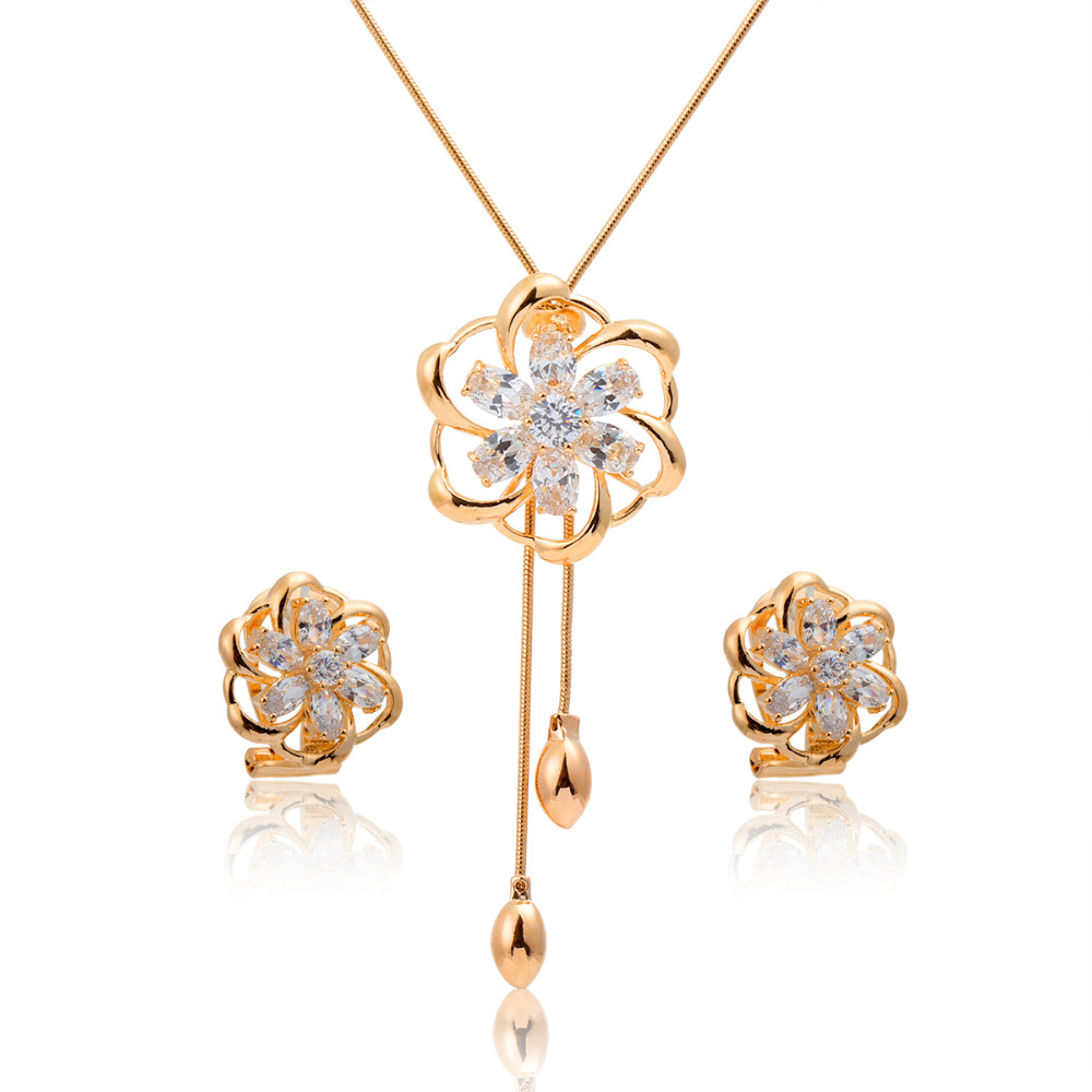 Yellow Gold Color Colorful Camellia Rainbow Flower Cz Women Costume Jewelry  Sets 54mm Pendant Lariat Necklace
