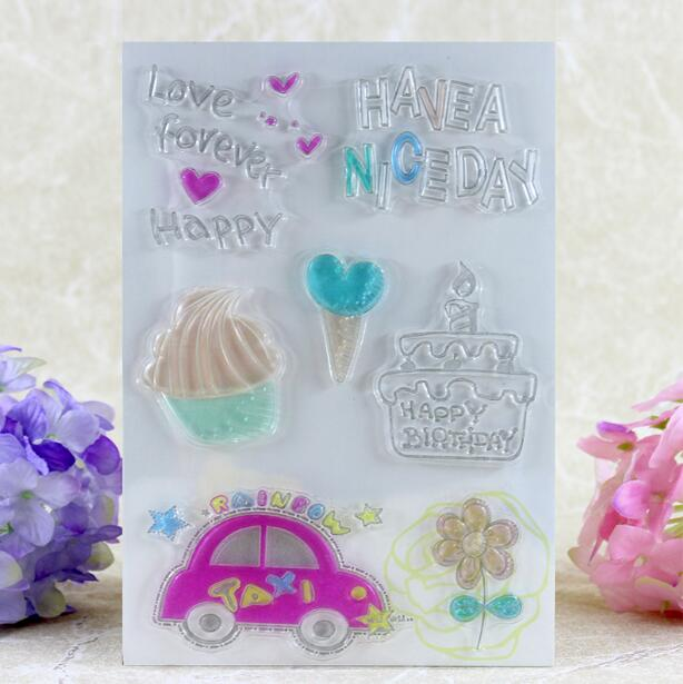 Scrapbook DIY Photo Album Card Rubber Chapter Transparent Seal happy days cake Clear Stamp 73 scrapbook diy photo album card rubber chapter transparent seal month permanent calendar clear stamp 136