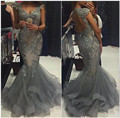 Grey Mermaid Tulle Beaded Lace Applique Cap Sleeve 2017 New Prom Dress With Open Back Vestidos De Formatura