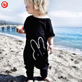 2016 Summer/Spring Baby Boys Rabbit Rompers Infant Girls Jumpsuits Black Short Sleeve Newborn Bebes Onesie Baby pajamas Clothes