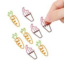 20packs/lot Cartoon Cute Fruit Paper Clip Creative Kawaii Metal Bookmark Decorative File cartoon metal pendant bookmark student kawaii accessories small decorative pendant page holder