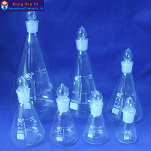 Image 5 - (4pieces/lot) 50ml Conical flask,with ground in glass stopper Boro 3.3 glass,conical flask with stopper, high quality