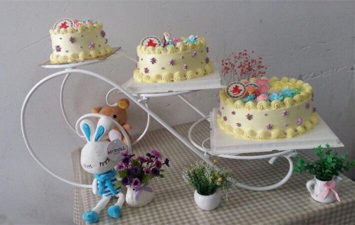 Grand plateau en métal de gâteau de support de gâteau (8 pouces-14 pouces) support de présentoir de Cupcake de 3 niveaux support de plateau de désert de fête d'anniversaire de mariage - 3