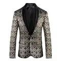 FOLOBE, золотой цветочный блейзер для мужчин, 2020, модная одежда для сцены, мужской блейзер с цветочным принтом, приталенный, Ретро стиль, Мужско...