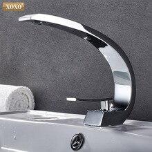 Baterie umywalkowe XOXO nowoczesna łazienka Mixer Tap mosiężna bateria umywalkowa pojedynczy uchwyt pojedynczy otwór elegancki żuraw do łazienki 83006