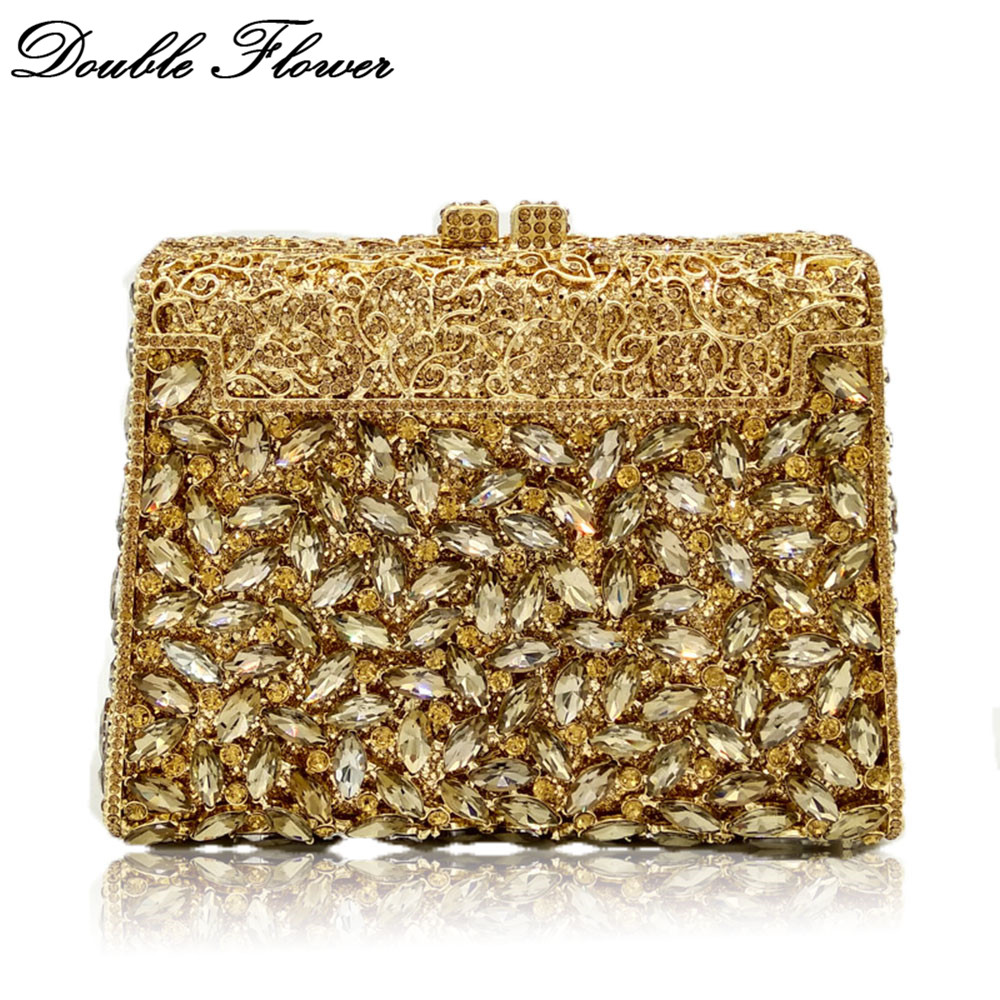 Double Flower Dazzling Hollow Out Women Gold Crystal Evening Bags Metal Hard Case Diamond Minaudiere Box Clutch Wedding Handbag double flower hollow out sparkling dazzling crystal women gold evening clutch bags wedding party bridal diamond handbag purse