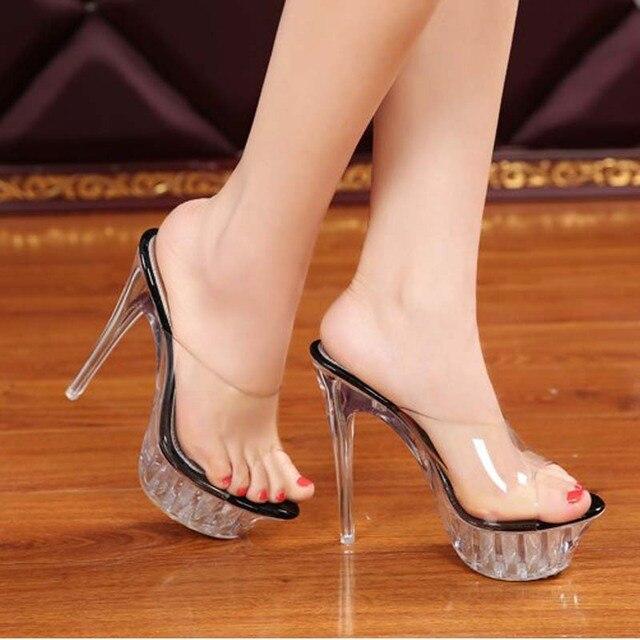 Womens Open toe Summer Platform Stiletto High Heels Sandals Slippers Shoes Size