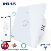 WELAIK Brand UK WIFI Touch Switch Crystal Glass Panel Wall Intelligent Switch Light Smart Switch 1gang1way B1911CW&WIFI