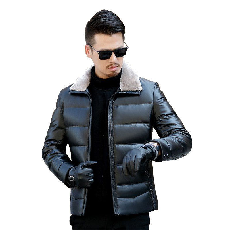 New 2018 men's PU leather duck   down     coat   winter jacket for male stand wool collar black plus size 3XL