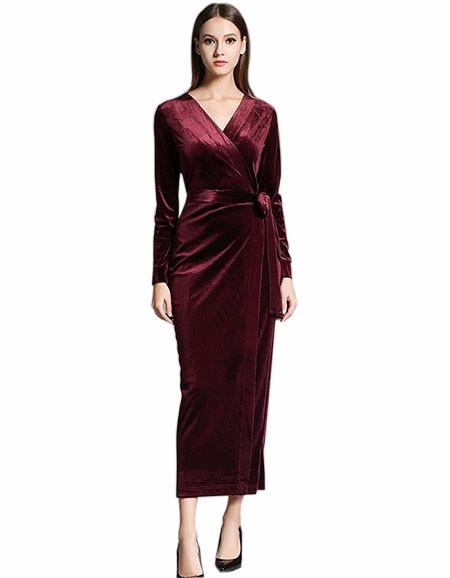 17 Autumn Winter Dresses Women Long Sleeve V-Neck Red Velvet Dress Pencil Sexy Evening Party Dresses Christmas Robe Femme 2