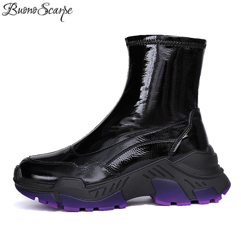 Buono 스카프 첼시 부츠 플랫폼 짧은 부츠 특허 가죽 여성 신발 슬립 온 미드 커프 부츠 웨지 높이 증가 신발-에서미드 카프 부츠부터 신발 의  그룹 1