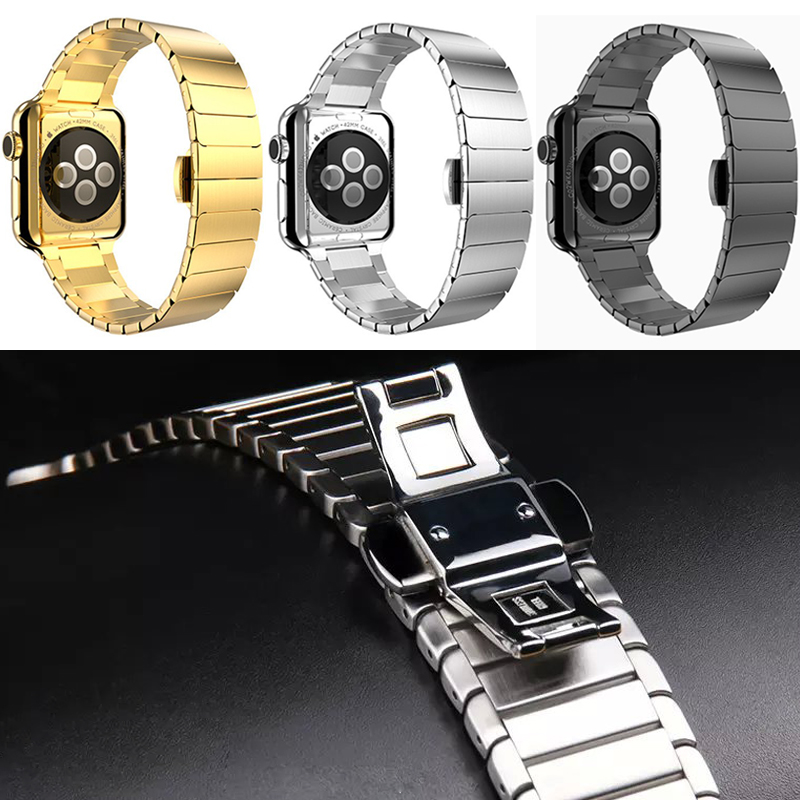 Luxury  Stainless Steel Replacement Wrist Strap Bracelet with Butterfly Buckle Clasp for apple Watch band 42/38mm apple watches 26mm watch strap for hours stainless steel bracelet for wrist watches gd016326