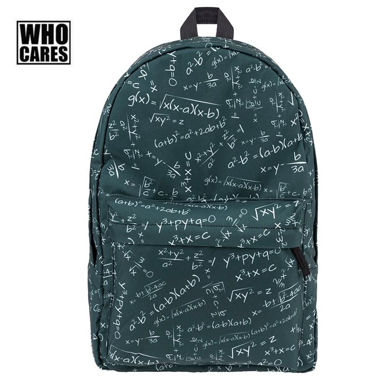 2017 who cares Fashion New Backpack Math Geometric Formula Graffiti printing School bags for teenagers Casual Unisex Bagpacks jasmine traveling unisex graffiti backpacks 3d printing bags drawstring backpack sep28