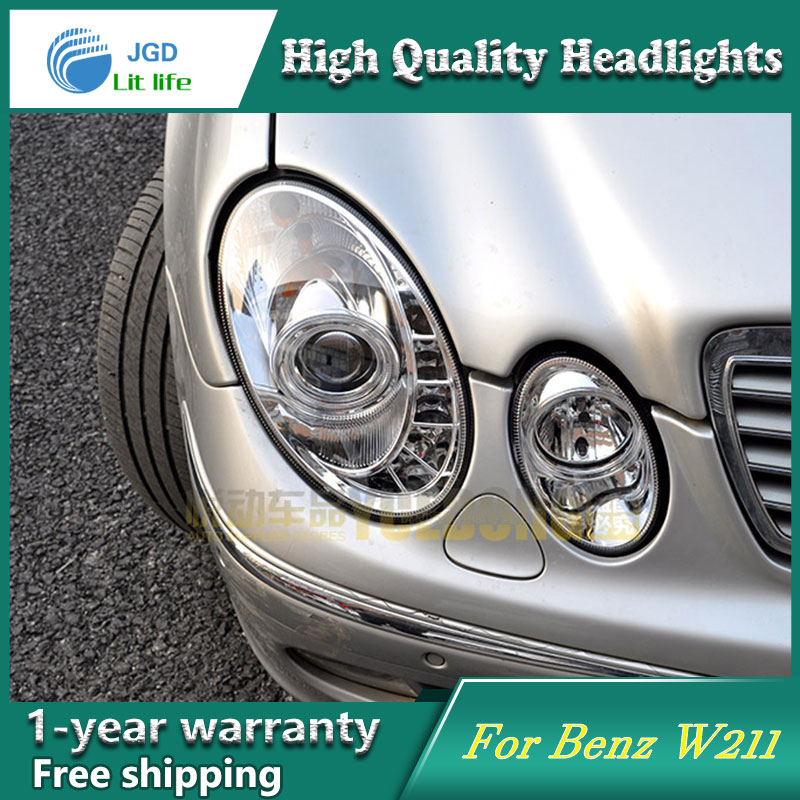 high quality Car styling case for Benz W211 E240 E200 E280 Headlights LED Headlight DRL Lens Double Beam HID Xenon hireno headlamp for 2016 hyundai elantra headlight assembly led drl angel lens double beam hid xenon 2pcs