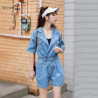 Women V Neck Turn Down Collar Blue Denim Playsuits Streetwear Short Sleeve Button Jeans Jumpsuit Harajuku Loose Romper Overalls