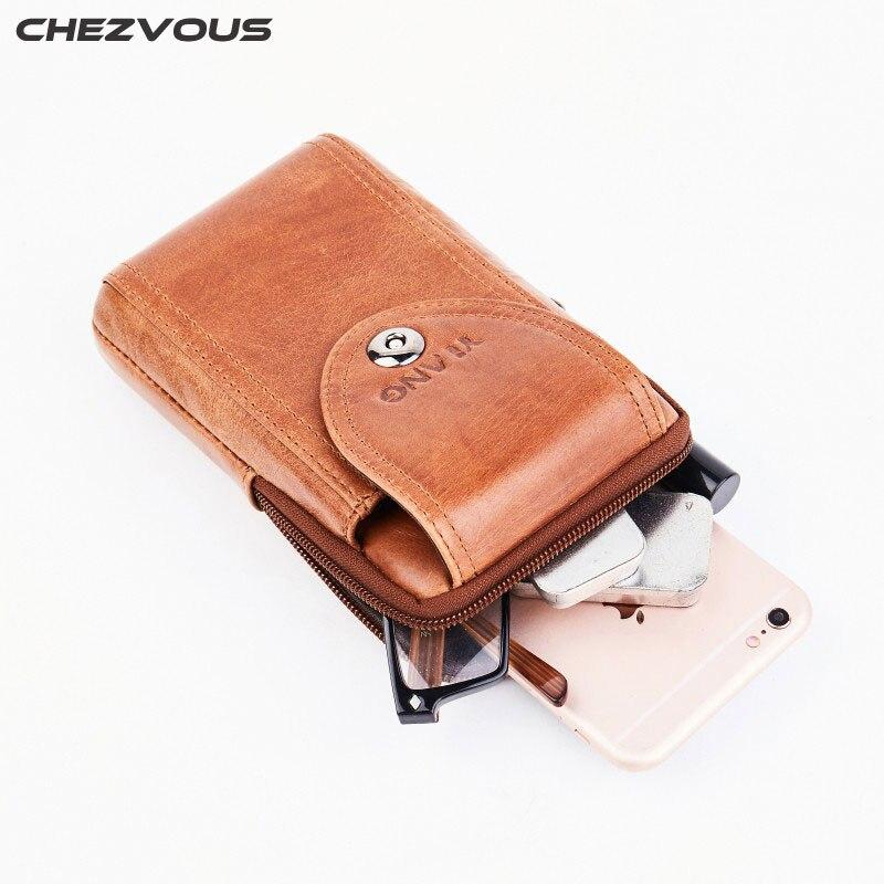 CHEZVOUS кожаный ремень чехол для iPhone 7 8 6 plus 5S x ремешках чехол Универсальный 6,0 дюймов мобильного телефона сумка Для мужчин поясная 2018