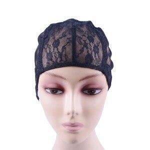 Image 2 - 10 pçs/lote laço suíço duplo laço peruca caps para fazer perucas de tecelagem cabelo ajustável peruca tampão cúpula preta para peruca redes de cabelo