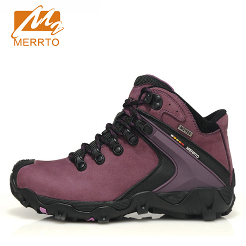 2018 Merrto Womens Hiking Boots Waterproof Outdoor Climbing Shoes Sports Shoes Full-grain leather For Female Free Shipping 18297