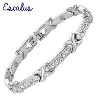 Escalus السيدات الفضة المغناطيسية الذكية واضح بلورات سوار المجوهرات هدية جميلة النساء الإسورة معصمه سحر سريع