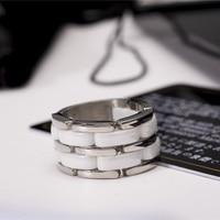 18kgp bianco titanium acciaio anelli di ceramica per uomini donne coppie gioielleria di marca di modo di trasporto libero (gr136)