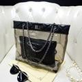 2017 New Arrival Transparent Totes Golden Silver Women Handbag Crystal Shoulder Bag Jelly Bolsa Feminina Waterproof Mochila