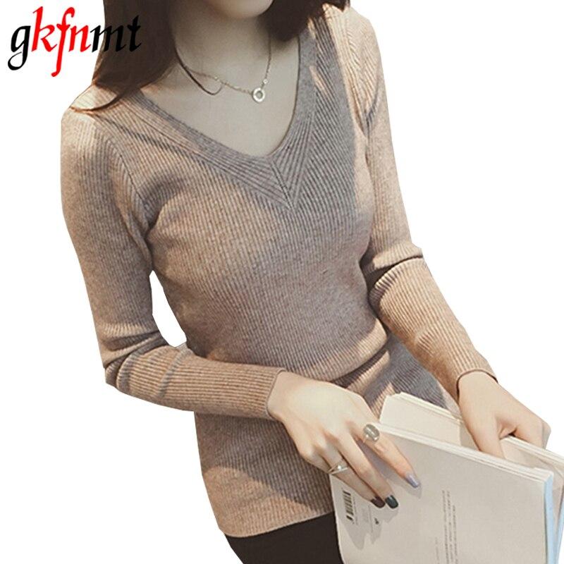 Gkfnmt Pullover Jumper V-Neck Sweater Autumn White Sexy Hiver Tops Truien