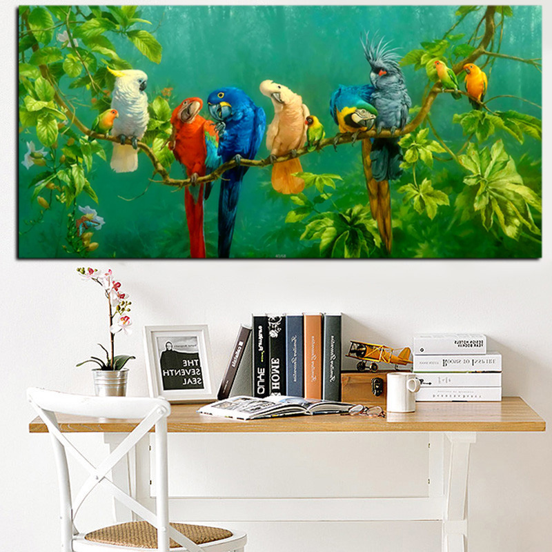 HD Print Colorful Parrot Bird on Branches Oil Painting on Canvas Abstract Wall Painting For Living Room Sofa Cuadros Decoration (2)