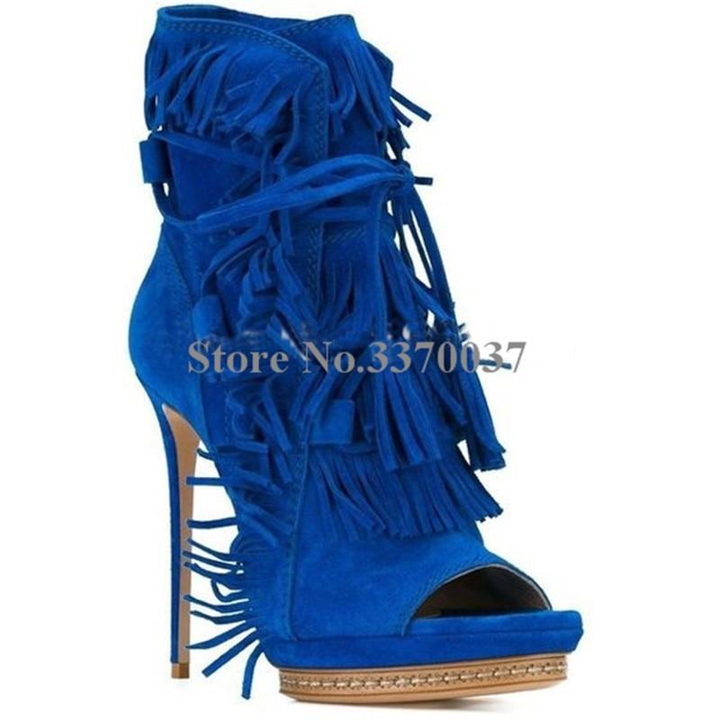 Women New Fashion Open Toe Blue Suede Leather Lace-up Tassels Short Gladiator Boots Fringes Platform High Heel Ankle Boots все цены