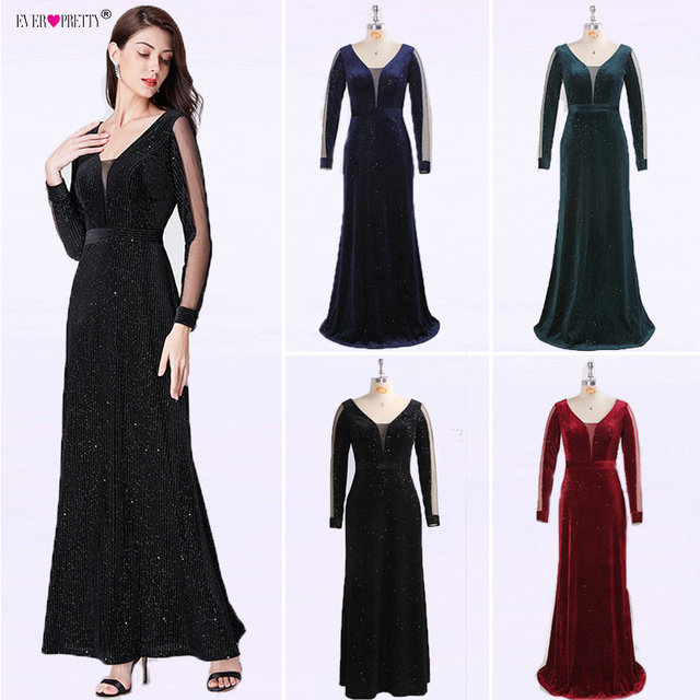 Black Evening Dress Long Sleeve Ever Pretty EP07394BK Elegant Little Mermaid Autumn Long Formal Party Gowns Robe De Soiree 2018