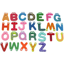 26pcs Colourful Cartoon Letter Fridge Magnet Cute Wooden Magnetis Sticker Education Learn Wall Sticker Novelty Kid Baby Toy colorful a z 26 alphabet letter wooden fridge magnet toy