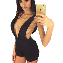 Europe and America Sexy Backless Solid Color Nightclub Jumpsuit Playsuit