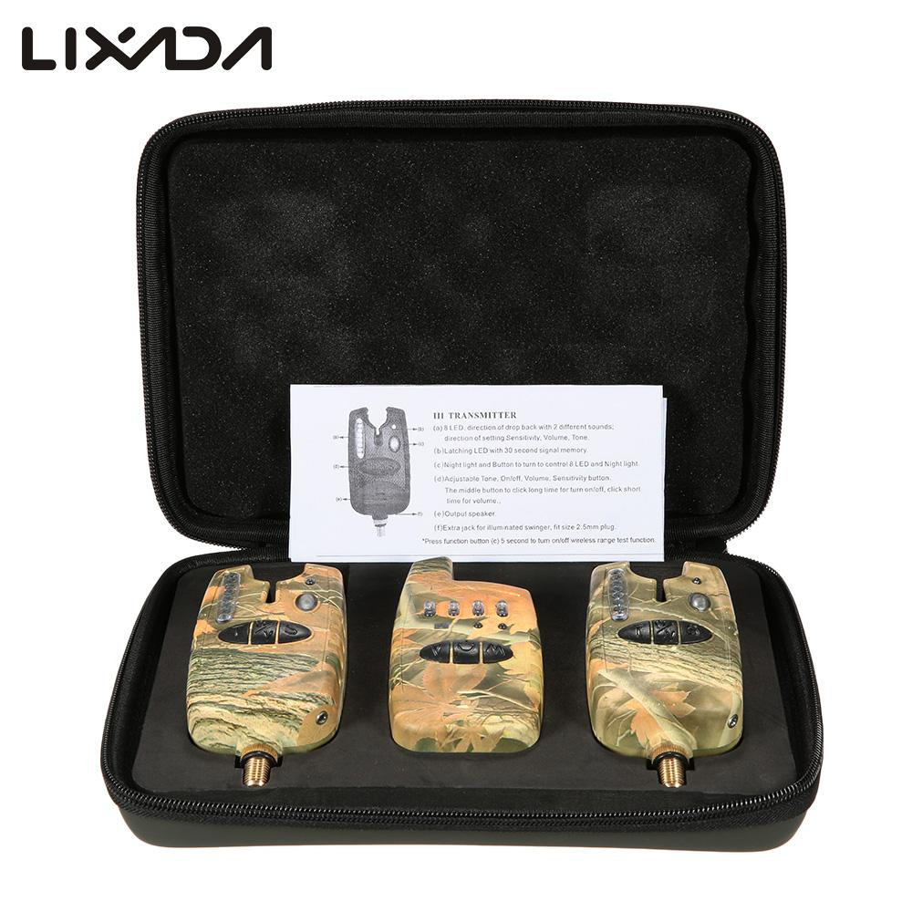 Lixada Wireless Carp Fishing Bait Alarm Set 2 Fishing Bite Alarms 1 Receiver Tone Volume Sensitivity