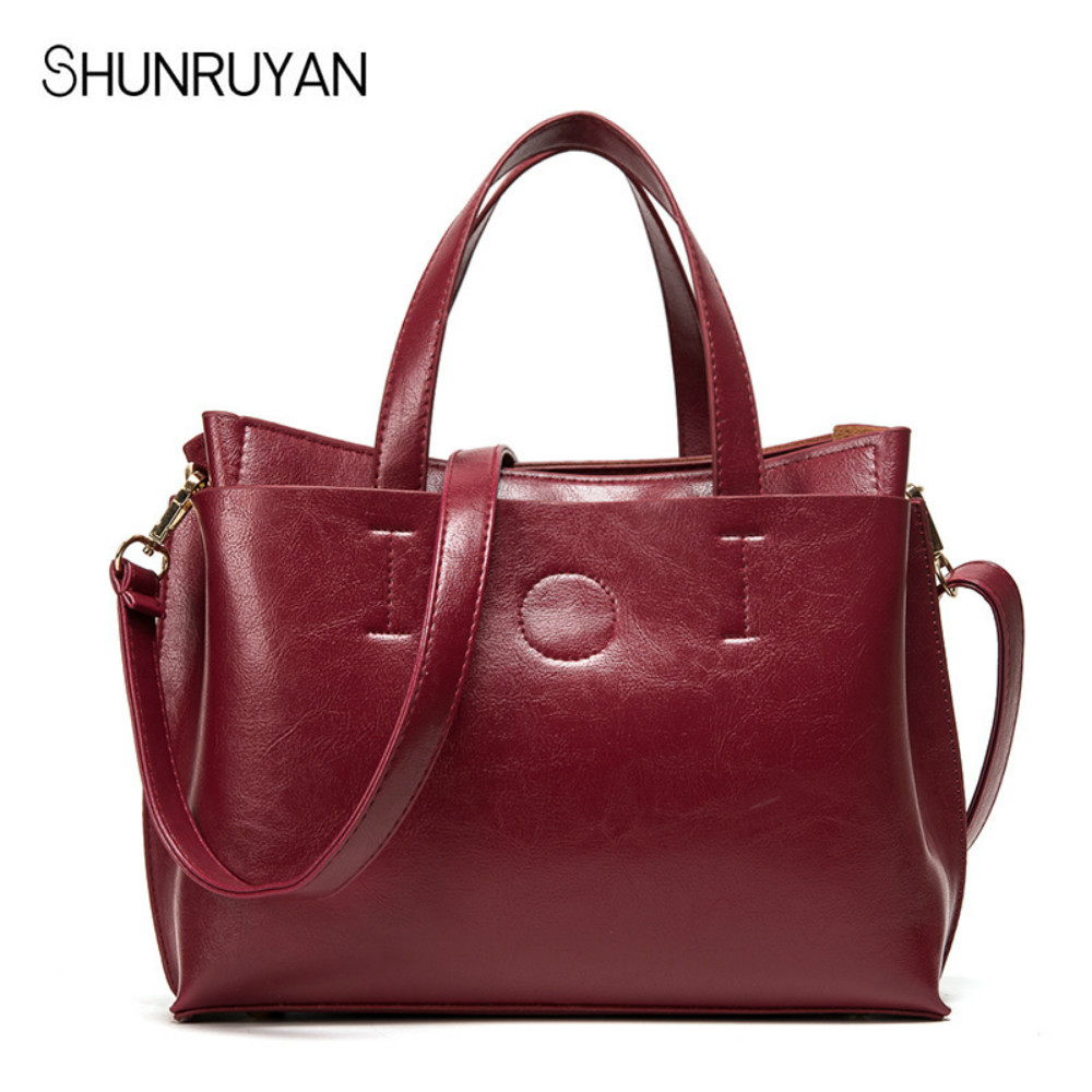 SHUNRUYAN 2018 New Leather Ladies Bag Women Messenger Bags Large Size Female Casual Tote Bag Solid Leather Handbag Shoulder Bag genuine leather female handbag autumn bag large size women shoulder bag daily fashion solid women bag causal female bag