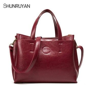SHUNRUYAN 2018 új bőr női táska női Messenger táskák nagy méretű női alkalmi táska táska szilárd bőr táska válltáska táska