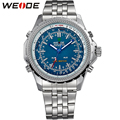 WEIDE Quartz Man Watch Stainless Steel Band Analog Digital Auto Date Alarm LED Back Light Display Sports Multifunction Watches
