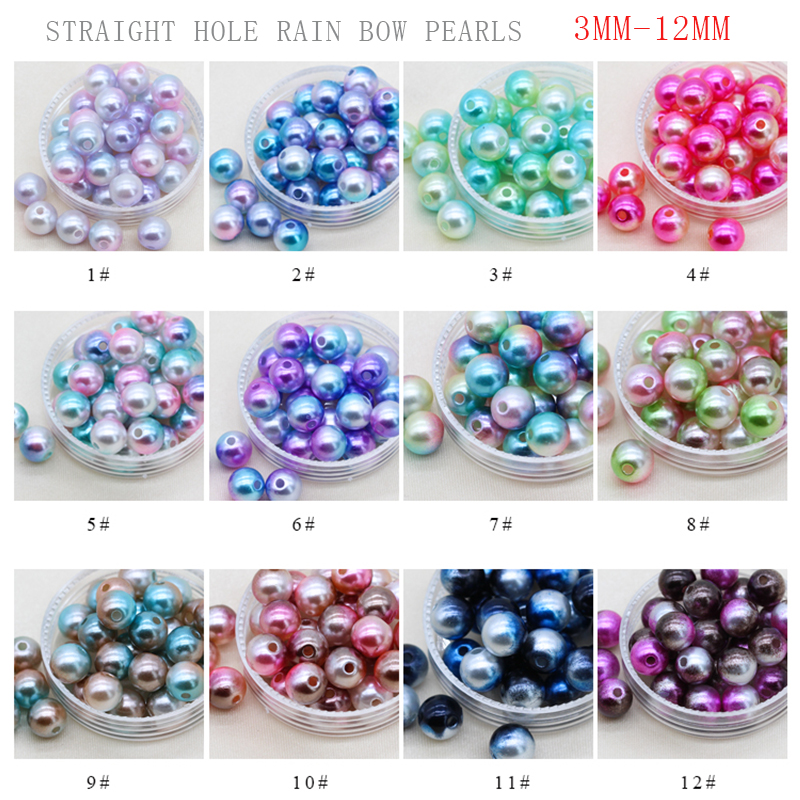 3/4/6/8/10/12mm Rainbow color Acrylic Sew on pearl spacer beads clothes headwear bag craft DIY Bracelets Necklace Jewelry Making