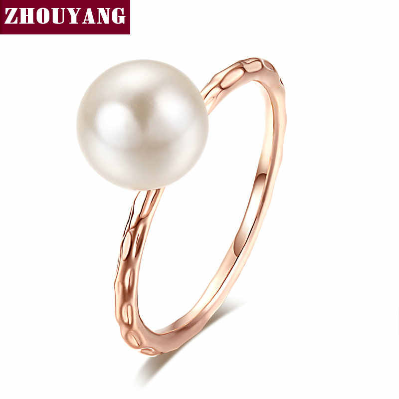 OL Lady Style 6mm Imitation Pearl Rose Gold Color Ring Full Sizes For Women Wedding Party Top Quality ZYR424