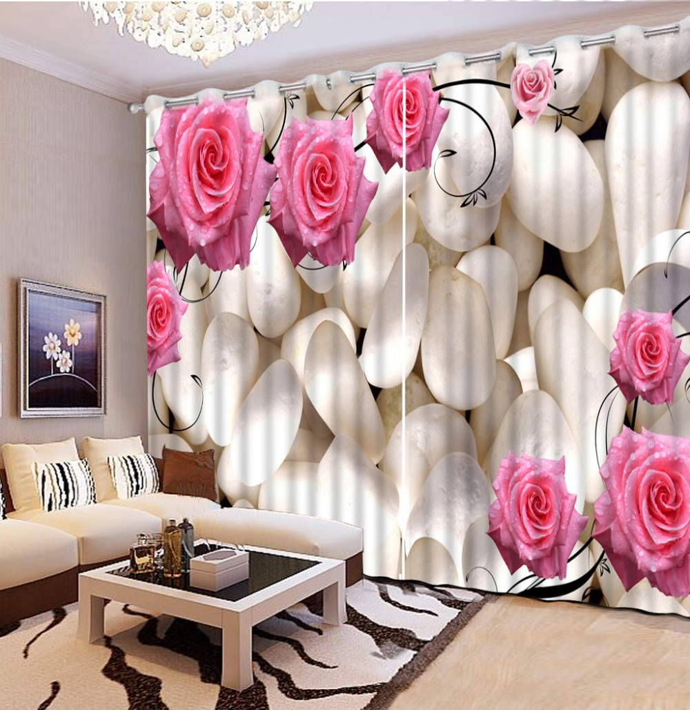 Top Classic 3D Curtains European Style Beautiful Living Room 3d Red Rose Flower Stone Curtain