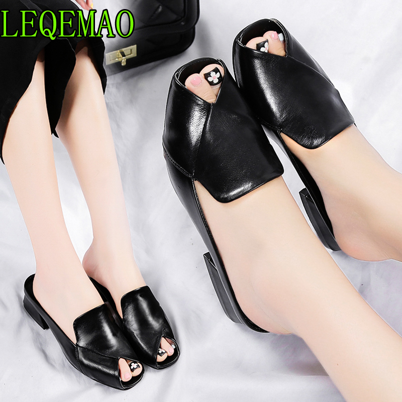 chic open toe mules women thick heel cutout sandals black white leather slippers women flip flops sandalias mujer 2019