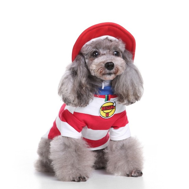 2017 Christmas Dog Clothes Baby Puppy Red White Stripe Costume Collections Holy Hound Pet Clothing