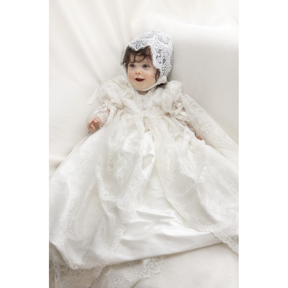 цена Two Pieces Lace Jacket Baby Girls Boys Kid Infant Baptism Robe Blessing Dress Heirloom Gown Christening Gowns онлайн в 2017 году
