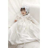 Two Pieces Lace Jacket Baby Girls Boys Kid Infant Baptism Robe Blessing Dress Heirloom Gown Christening Gowns