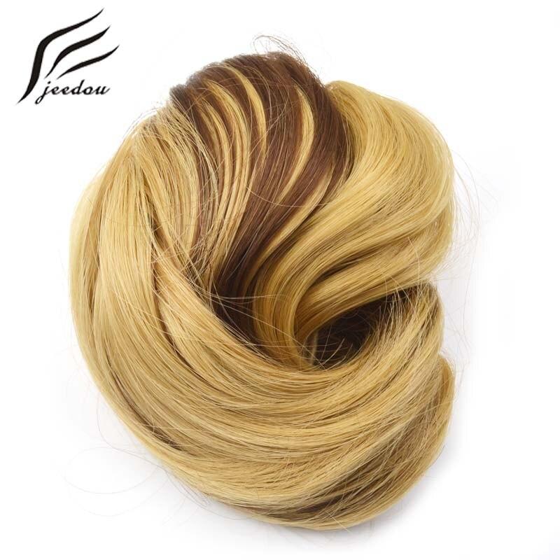 f7d7c7a051 Jeedou Q6 pelo sintético Chignon Color de la mezcla 60g bollo de pelo  rizado de banda de goma moño boda recogidos para las novias elegantes